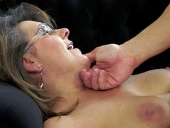 Short haired brunette whore with hanging tits and sexy glasses gets her cunt licked and fucked deep in debatable positions nearby orgasm by turned on handsome young boy on couch