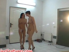 Two cuties behind burnish apply scene