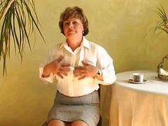 Despondent grandma pussy with dildo