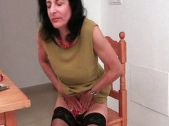 Hairy Emanuelle in black stockings