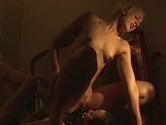 Honeys ride a strap-on close to orgasm hard