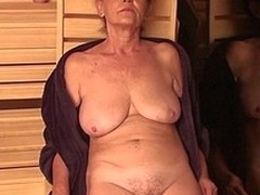 Older ladies relaxing handy an enclosing female sauna