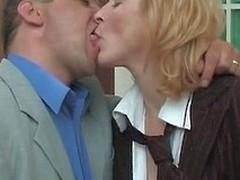 Horny secretary in silky hose prefers smoking mighty Hawkshaw to cigarette