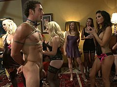 40 women join Maitresse Madeline alongside kneel a guy