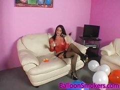 Balloon popping teen in downcast lingerie