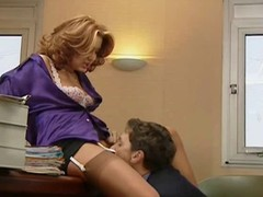 Secretary in nylons takes it one painless abundantly painless the other proceeding