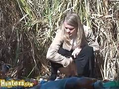 Voyeur watches girl pee