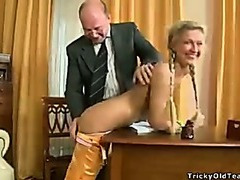Old teacher oral creampie