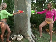 The several busty blonde babes Jannete & Carol went outside be beneficial to playing down be passed on hot clime & got one another's T-shirts wet with squirt-guns. During their little sapphist diversion their pussies got wet also, so they had to get totally shorn to show one anoth