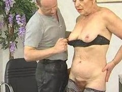 Deliciously Hairy Granny Sucks together with Fucks