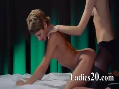 Lesbian strap on hardcore coition