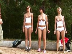 Overt training for 3 young amateur babes