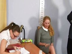 Embarassing denude job interview for blond girl