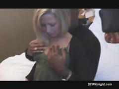 Blonde meets with a big black cock and gets fucked for creampie