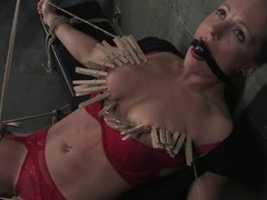 Tow-headed dame roughly red lingerie gets clothespinned and toyed