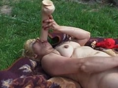 Light-complexioned granny smashes her old cunt with a tremendous dildo in chum around with annoy joint