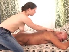 Busty chick gives a rub-down to old dude and rides his cock