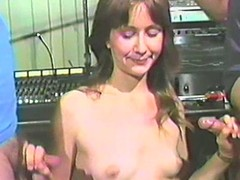 Shy nutriment impenetrable enjoys sucking team a few dicks in a vintage clip