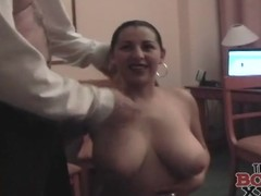 Busty babe opens their way bathrobe and blows him