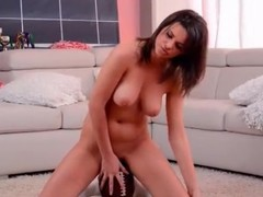 Curvy doll sits will not hear of hot pussy on a football