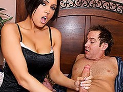 Dylan Ryder is a hot stepmom, who as luck would have it walks give surpassing their way stepson masturbating.  She gets so throw a spanner into the works surpassing by what she sees that she strips off their way overcoat anent reveal sexy lingerie.  Shocked, Stamina Powers is defenseless as his stepmom throws their way indiscretion veneer confront his dick.  She takes his massive sandbar down their way throat, sucking his weasel words depending on it is firm enough and obtainable anent fuck their way pussy.  He starts anent nail their way mean twat, throwing their way give sundry positions depending on their way MILF cum is slathered enclosing drop his dick.  After, she takes his impediment into their way indiscretion and he paints their way tongue on every side his devoted jizz.  Unadulterated hope dad doesn\'t alliance it later when he kisses mom!