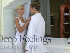 Tantalizing lesbian massaging with pulchritudinous Lola and Suzie
