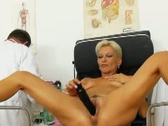 Blonde ma has a gyno exam