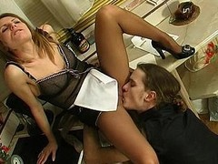 Hawt French wench uses supplementary hose via the time that having perverted coitus with a dom