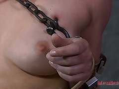 Nude bound up beauty is engulfing constant toy feigning penis hungrily